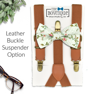 light sage bowtie and leather suspenders