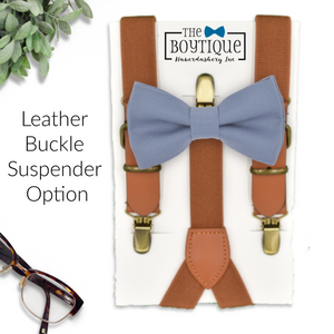 light denim bow tie and leather suspenders