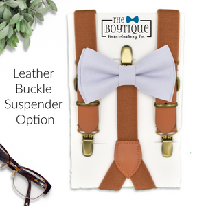violet blue bow tie and leather suspenders