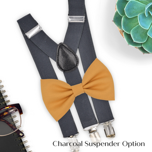 marigold bow tie and charcoal suspenders