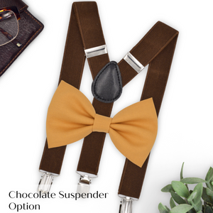 marigold bow tie and brown suspenders