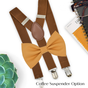marigold bow tie and suspenders