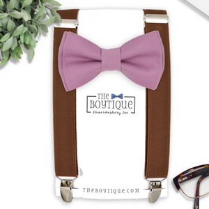 mauve bow tie and coffee suspenders