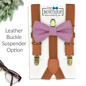 light purple bow tie and leather suspenders