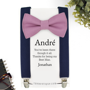 mauve bow tie and suspenders ring bearer