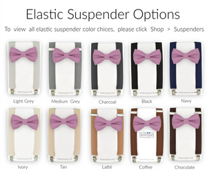 mauve bow tie and suspender sets