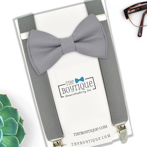 medium grey bow tie and suspenders