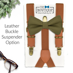 fall wedding bow tie and leather suspenders