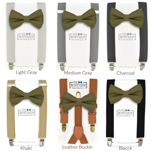 olive bow tie and suspenders sets