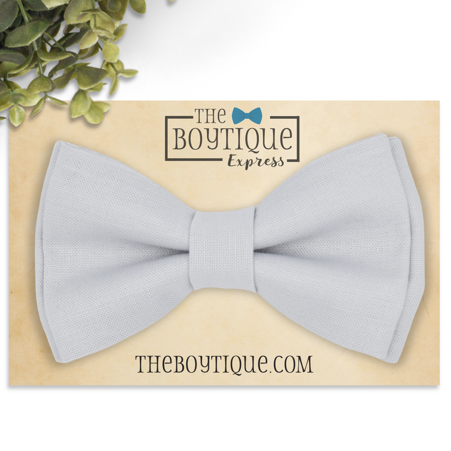 light grey bow tie and suspenders