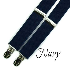 navy braces or men's suspenders and boy's suspenders for weddings