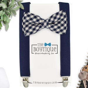 navy gingham bow tie and suspenders