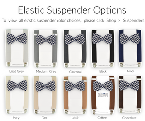 navy gingham bow tie and suspender set