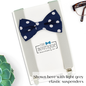 navy polka dot bowtie and suspenders