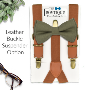olive rustic wedding leather suspenders