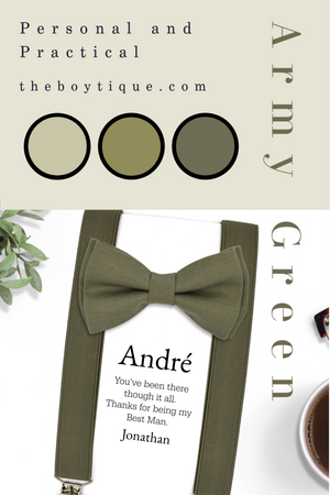Dark Olive Bow Ties and Suspenders