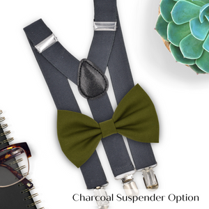olive bow tie and suspenders