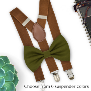 olive bow tie and coffee suspenders