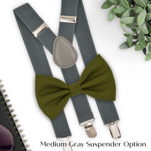 green bow tie and suspenders