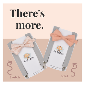 Rose Gold Bow Tie with Medium Grey Suspenders by The Boytique