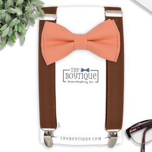 peach bow tie and coffee suspenders