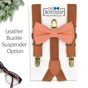 peach bow tie and leather suspenders