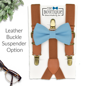 peacock bow tie and leather suspenders