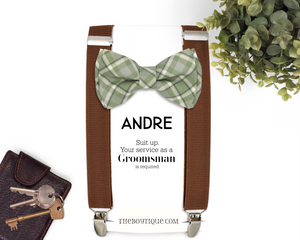 sage green bow tie and suspender set