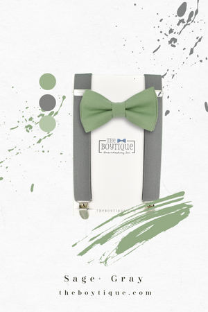 sage green bow tie and gray suspenders