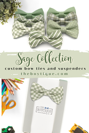 sage gingham bow tie and suspenders for boys