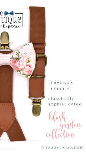 Blush Garden Bow Ties and Suspender Sets