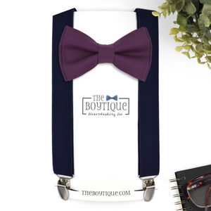 Plum Bow Tie and Suspenders