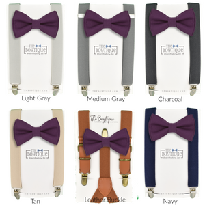 plum bow tie and suspender sets