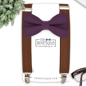 plum bow tie and brown suspenders