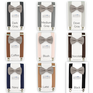 Portobello bow tie and suspenders