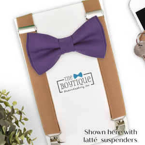 regal purple bow tie and suspenders