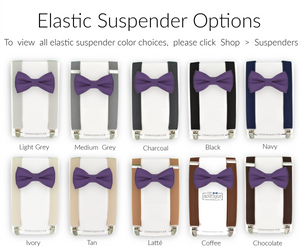 purple bow tie and suspender sets