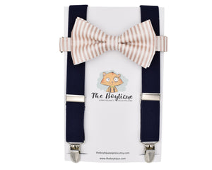 rose gold bow tie and suspenders