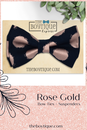 Navy and Rose Gold Bow Tie