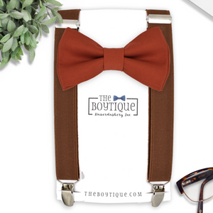 sienna bow tie and coffee suspenders