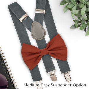 sienna bow tie and grey suspenders