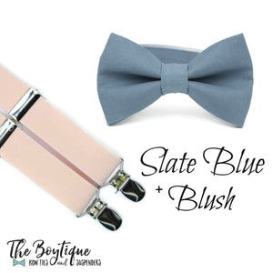 Slate Bow Tie and Blush Suspenders for Adults, Kids and Groomsmen, Makes a great Ring Bearer Gift!