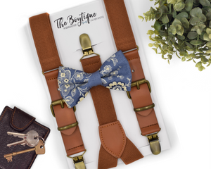 steel blue bow tie and suspenders