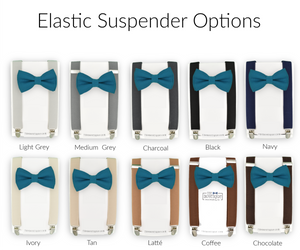 teal bow ties and suspender sets