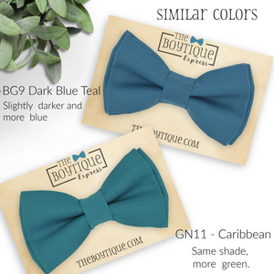 blue green bow ties