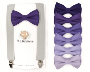 Purple Bow Tie and Grey Suspenders for ring bearer gifts, wedding apperal, photography and more!