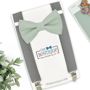 dusty sage bow tie and gray suspenders