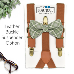 sage green plaid bow tie and leather suspenders
