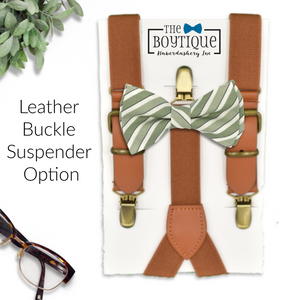 sage green stripe bow tie and leather suspenders