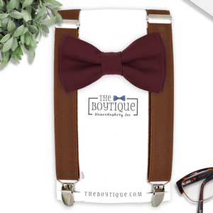 wine bow tie and brown suspenders